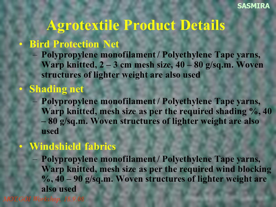 Agrotextile Product Details