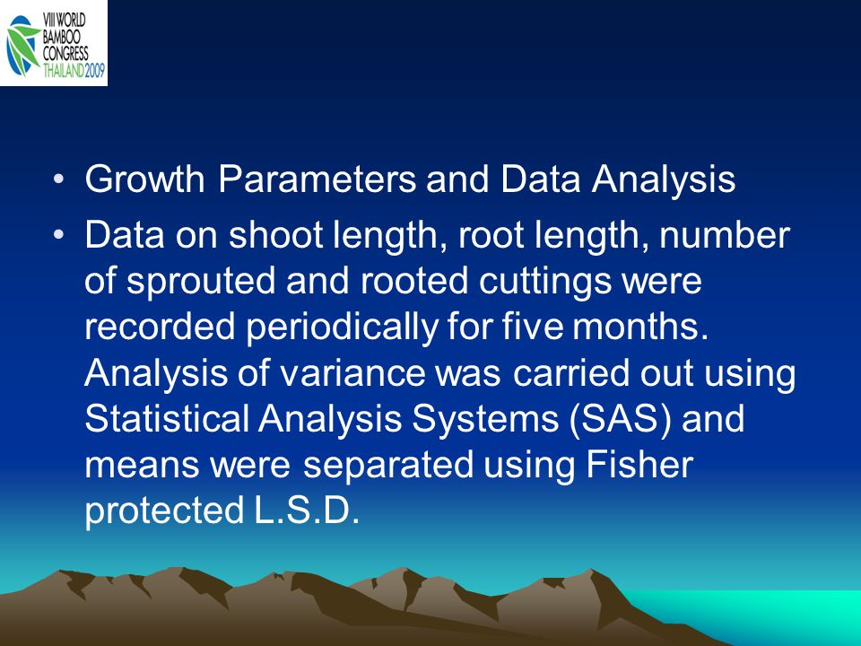 Growth Parameters and Data Analysis