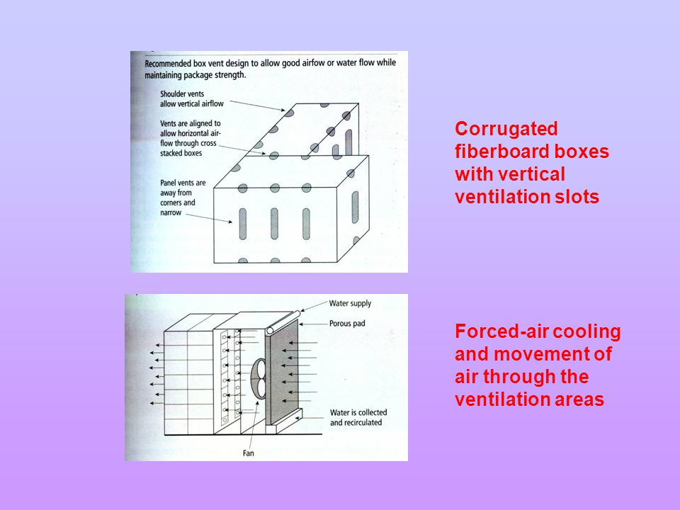 Corrugated fiberboard boxes with vertical ventilation slots