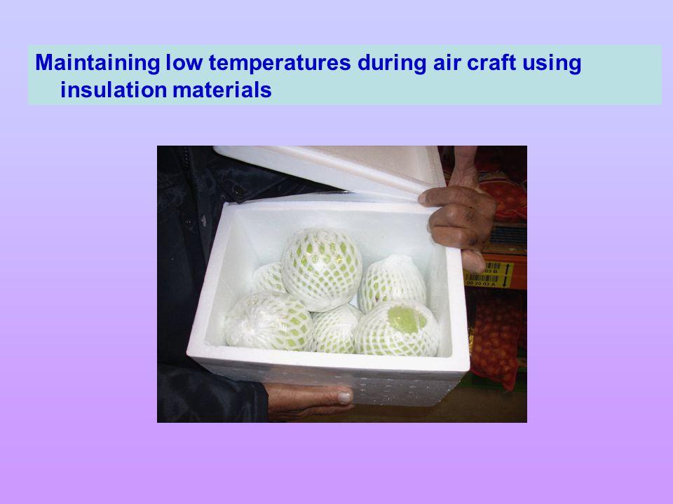 Maintaining low temperatures during air craft using insulation materials