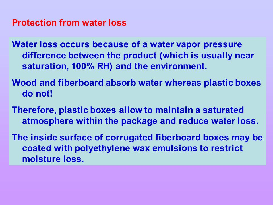Protection from water loss
