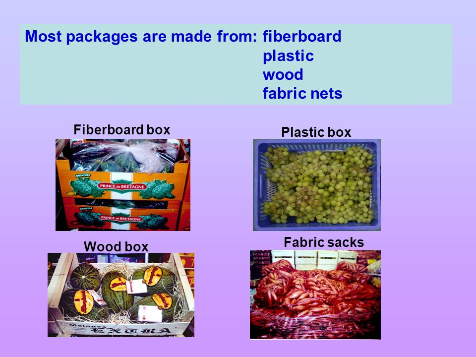 Most packages are made from: fiberboard plastic wood fabric nets