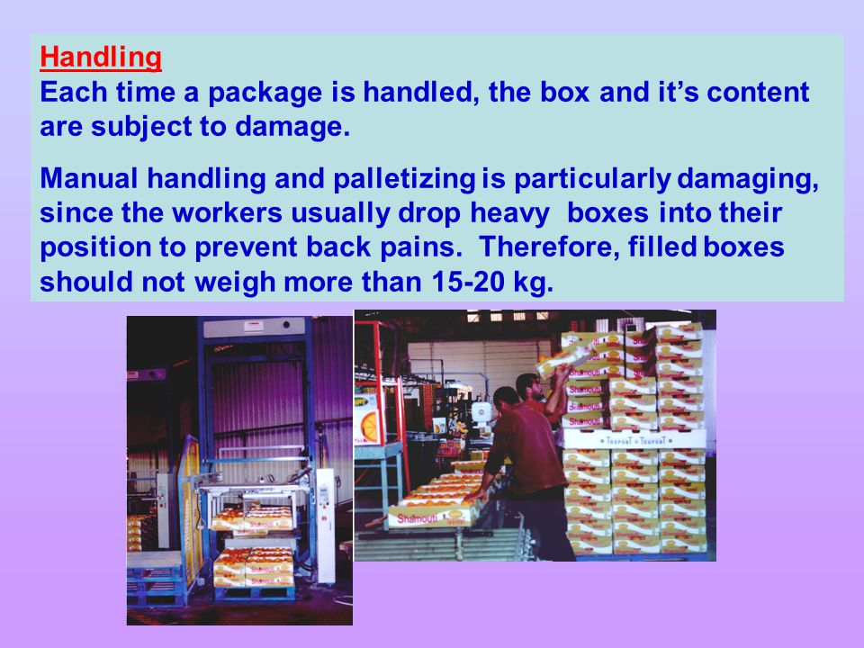 Handling Each time a package is handled, the box and it's content are subject to damage.