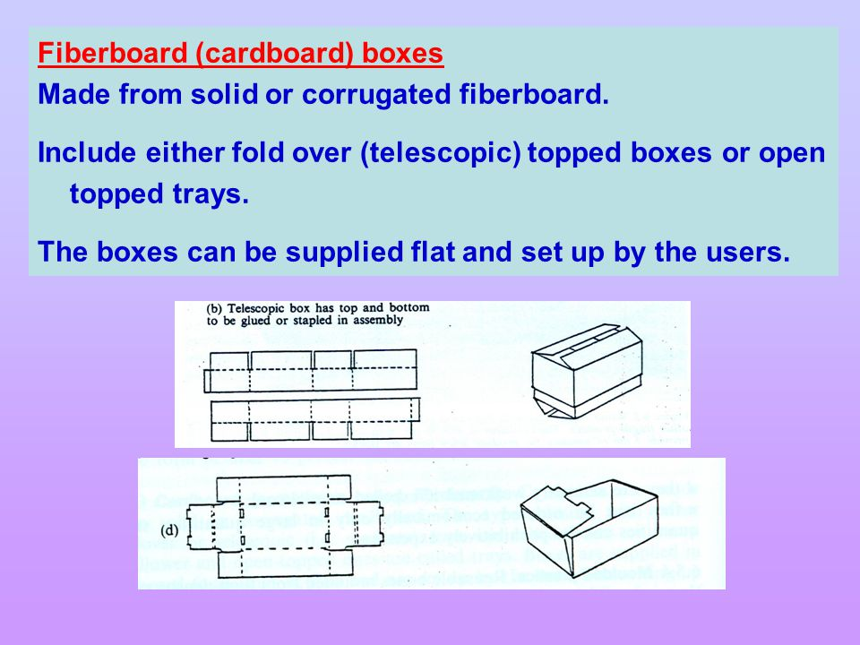 Fiberboard (cardboard) boxes