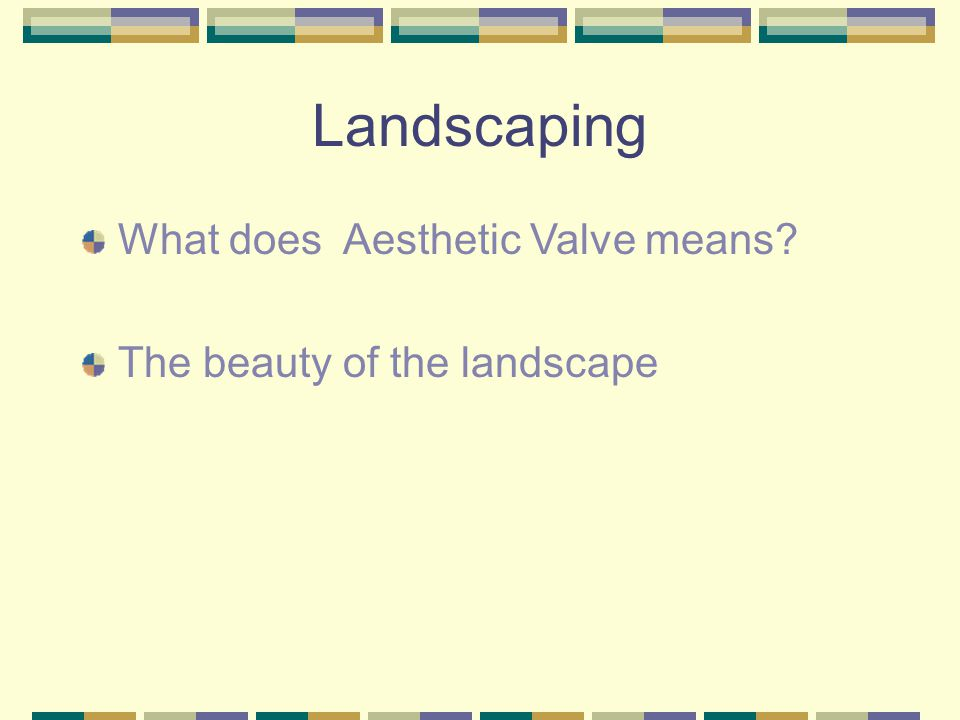 Landscaping What does Aesthetic Valve means