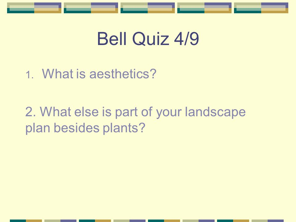Bell Quiz 4/9 What is aesthetics