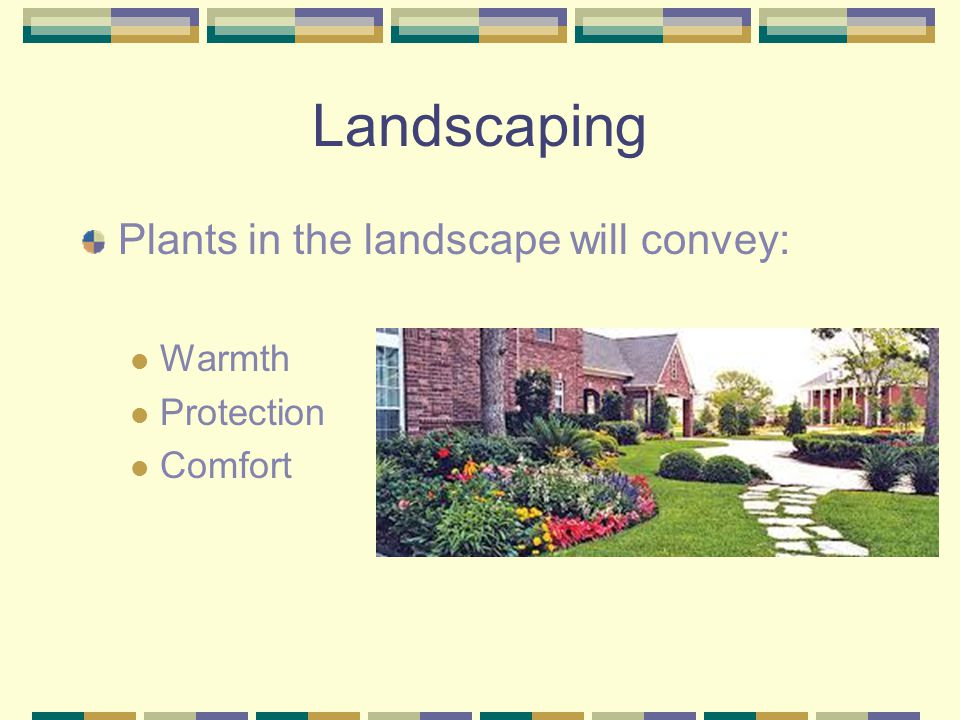 Landscaping Plants in the landscape will convey: Warmth Protection