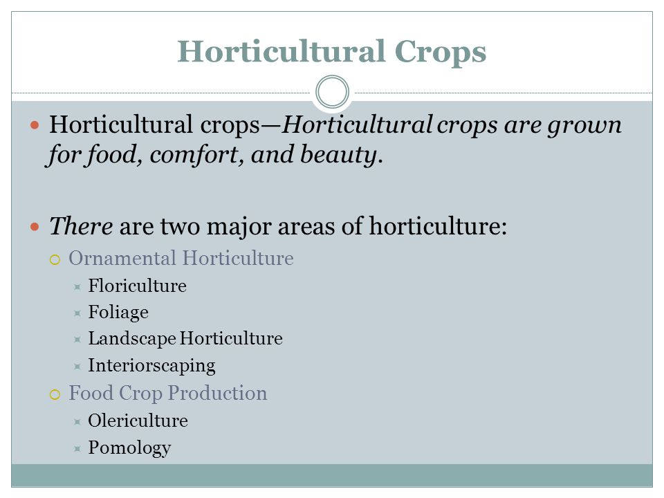Horticultural Crops Horticultural crops—Horticultural crops are grown for food, comfort, and beauty.