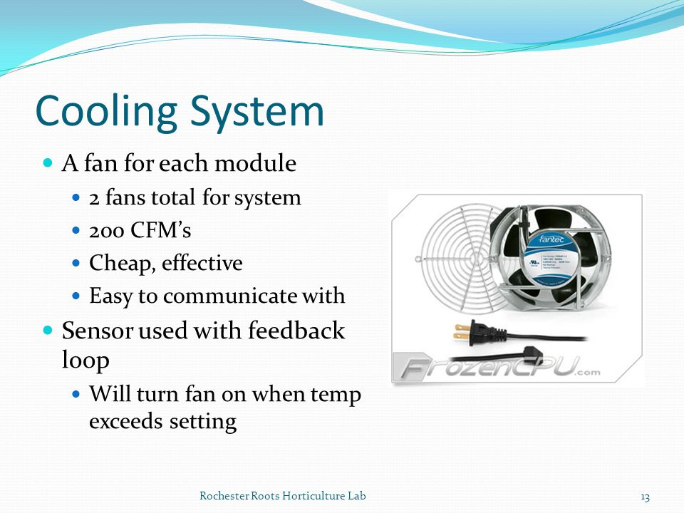Cooling System A fan for each module Sensor used with feedback loop