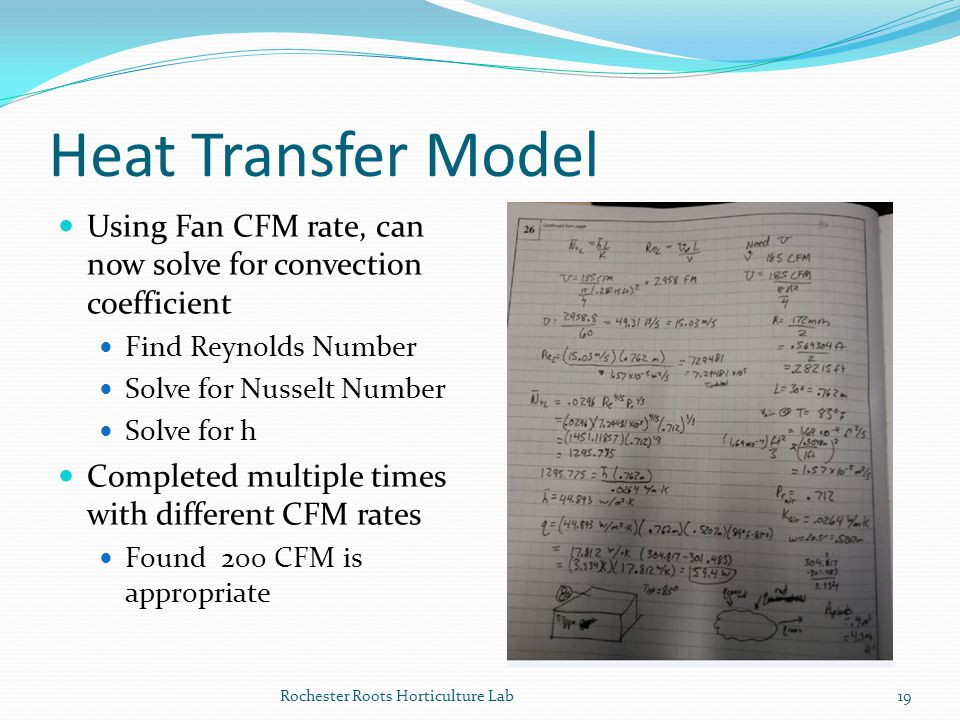 Heat Transfer Model Using Fan CFM rate, can now solve for convection coefficient. Find Reynolds Number.