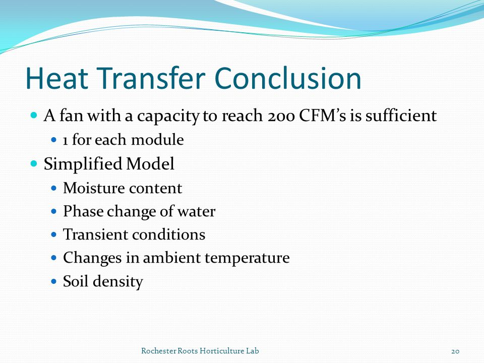 Heat Transfer Conclusion