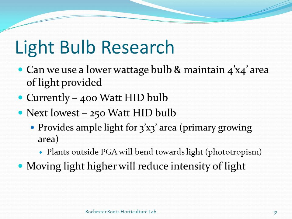 Light Bulb Research Can we use a lower wattage bulb & maintain 4'x4' area of light provided. Currently – 400 Watt HID bulb.