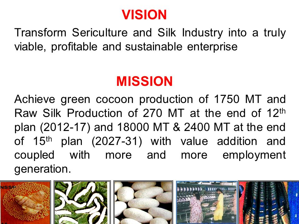 VISION Transform Sericulture and Silk Industry into a truly viable, profitable and sustainable enterprise
