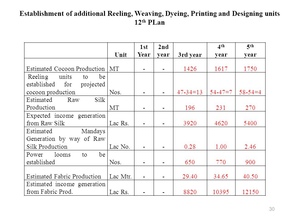 Establishment of additional Reeling, Weaving, Dyeing, Printing and Designing units 12th PLan