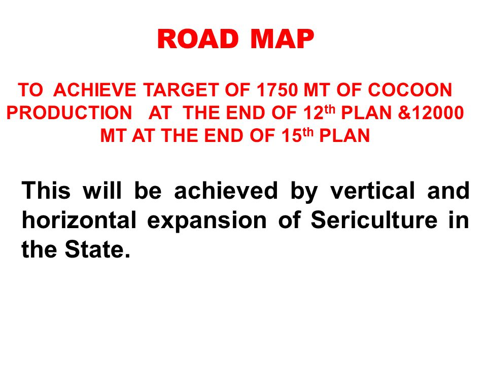 ROAD MAP TO ACHIEVE TARGET OF 1750 MT OF COCOON PRODUCTION AT THE END OF 12th PLAN &12000 MT AT THE END OF 15th PLAN.