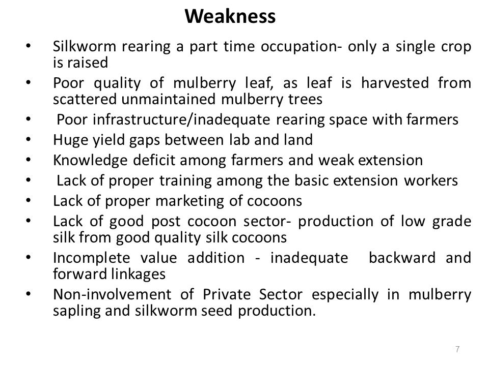 Weakness Silkworm rearing a part time occupation- only a single crop is raised.
