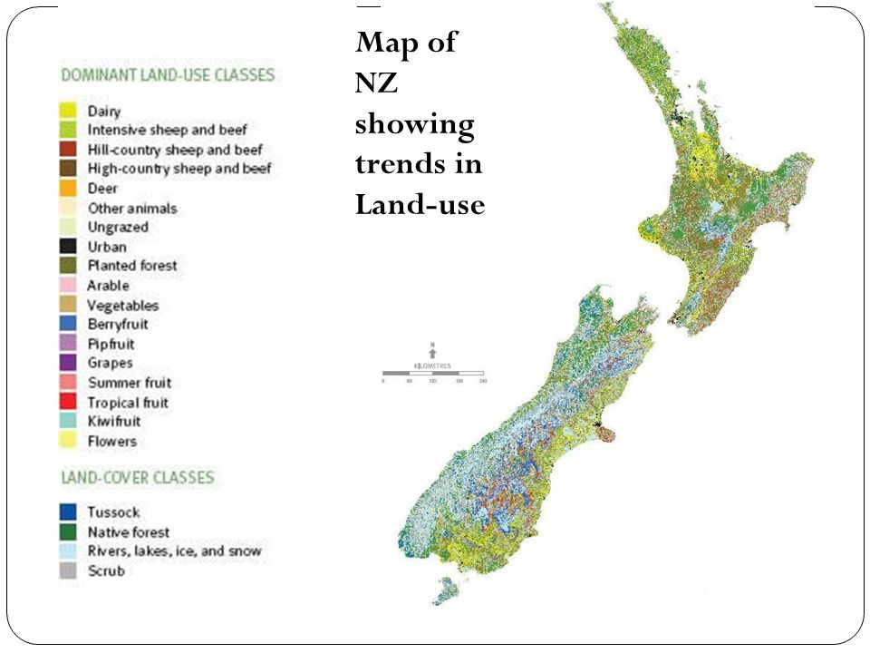 Map of NZ showing trends in Land-use