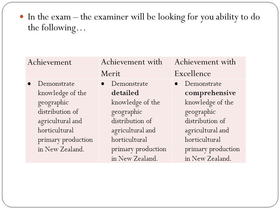 In the exam – the examiner will be looking for you ability to do the following…