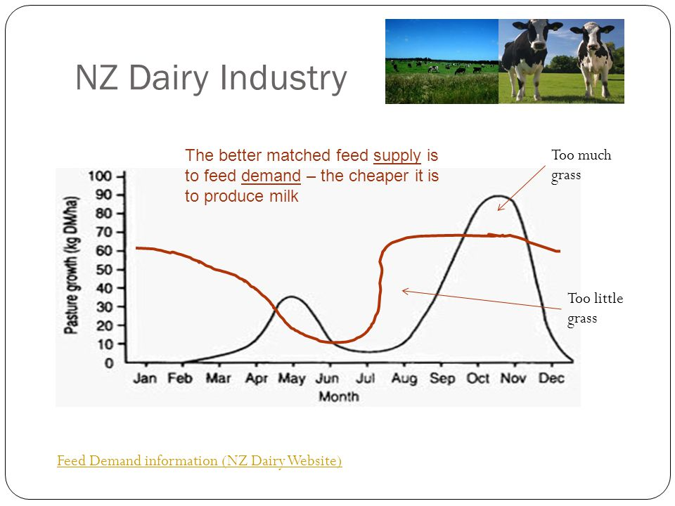 NZ Dairy Industry The better matched feed supply is to feed demand – the cheaper it is to produce milk.
