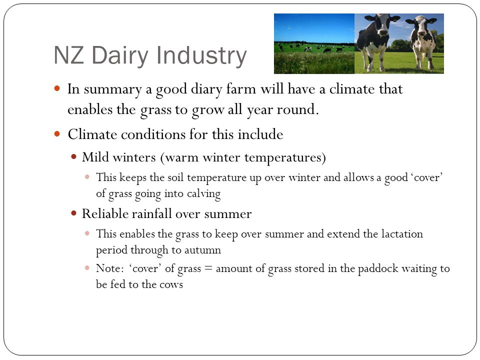 NZ Dairy Industry In summary a good diary farm will have a climate that enables the grass to grow all year round.