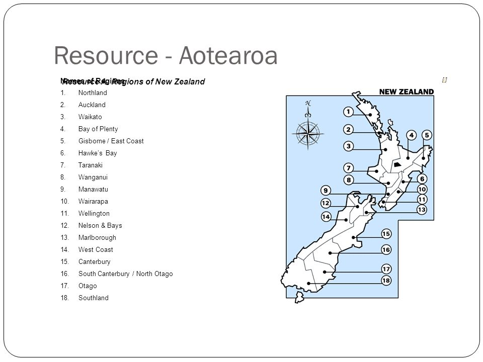 Resource - Aotearoa Resource A: Regions of New Zealand