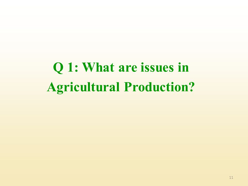Q 1: What are issues in Agricultural Production
