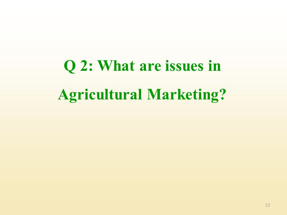 Q 2: What are issues in Agricultural Marketing