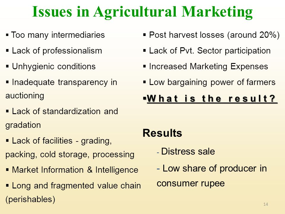 Issues in Agricultural Marketing