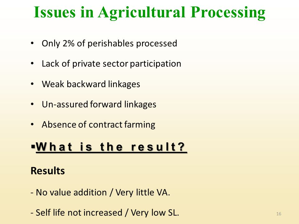 Issues in Agricultural Processing