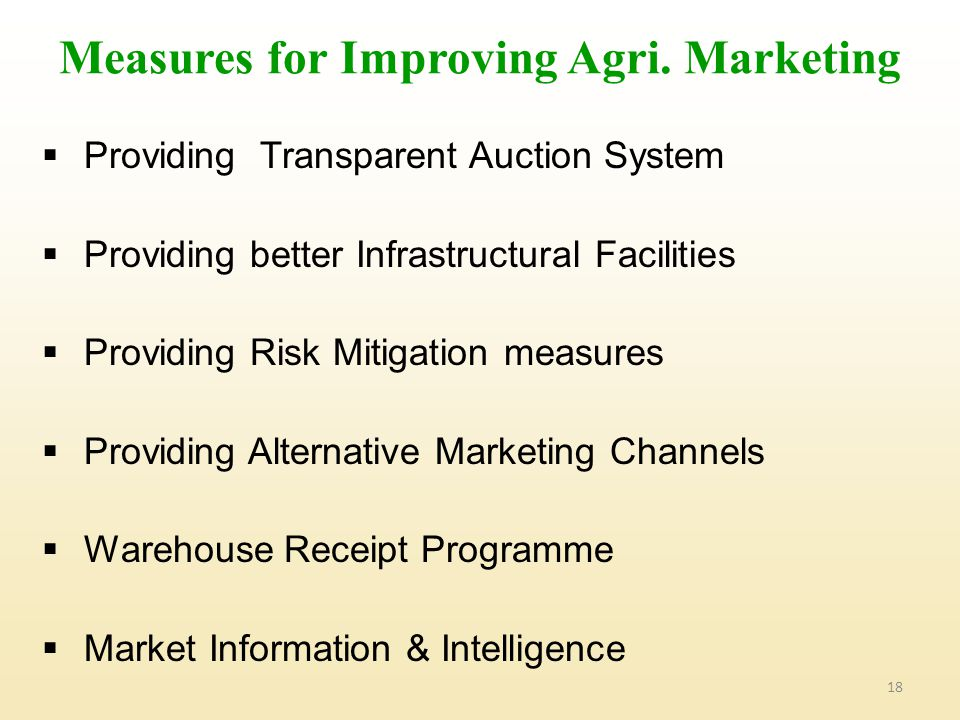 Measures for Improving Agri. Marketing