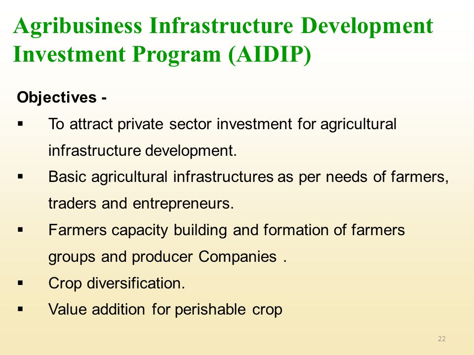 Agribusiness Infrastructure Development Investment Program (AIDIP)