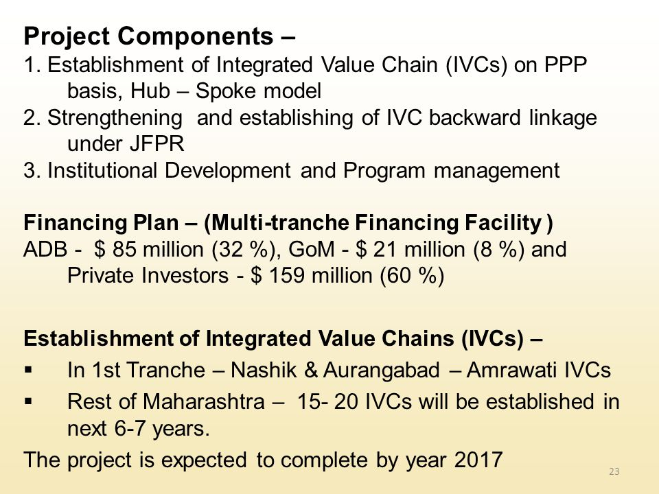 Project Components – 1. Establishment of Integrated Value Chain (IVCs) on PPP basis, Hub – Spoke model.