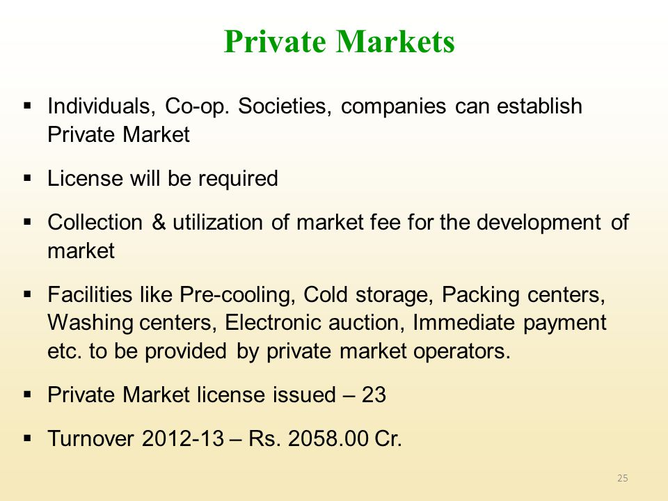 Private Markets Individuals, Co-op. Societies, companies can establish Private Market. License will be required.