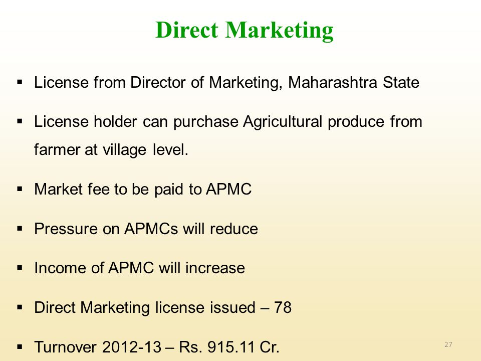 Direct Marketing License from Director of Marketing, Maharashtra State