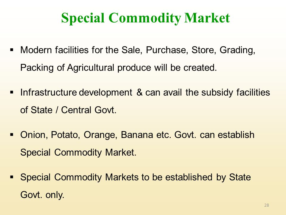 Special Commodity Market