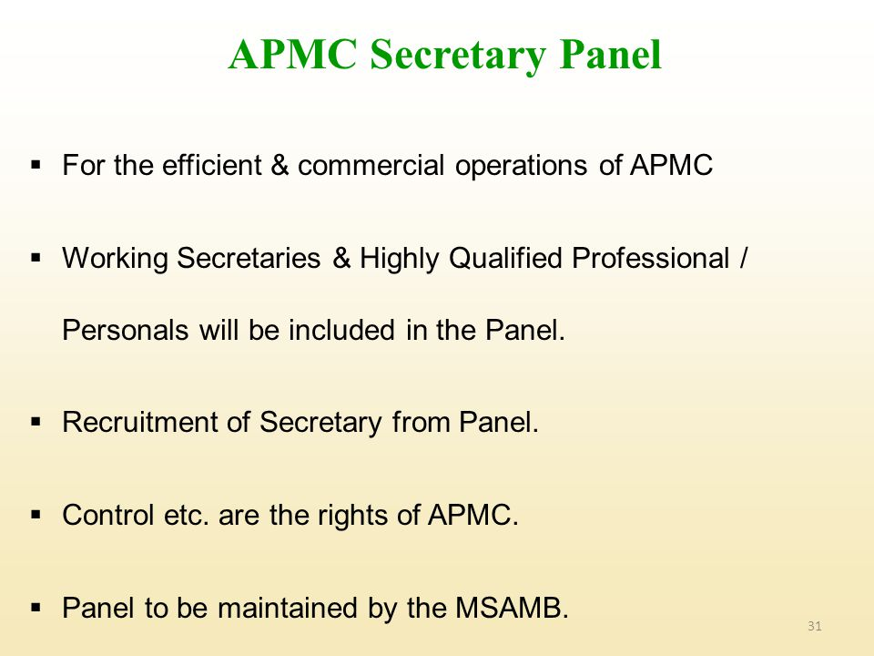 APMC Secretary Panel For the efficient & commercial operations of APMC