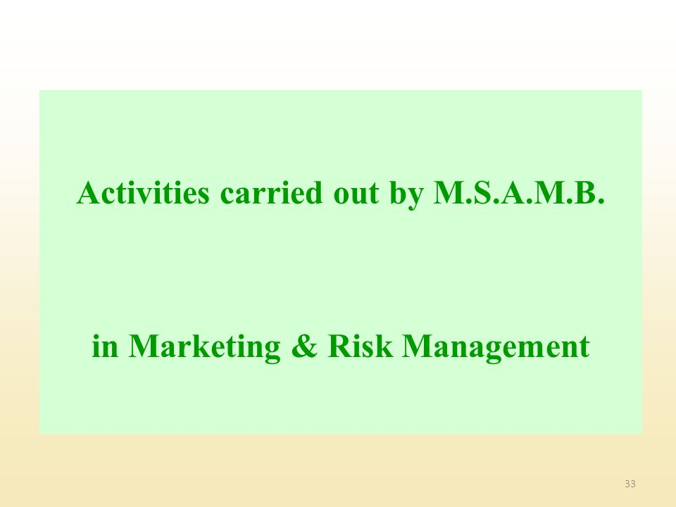 Activities carried out by M.S.A.M.B. in Marketing & Risk Management