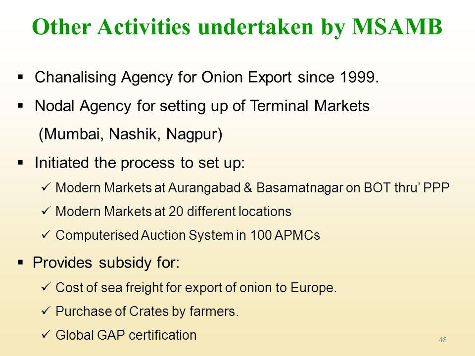 Other Activities undertaken by MSAMB
