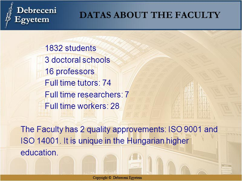 DATAS ABOUT THE FACULTY