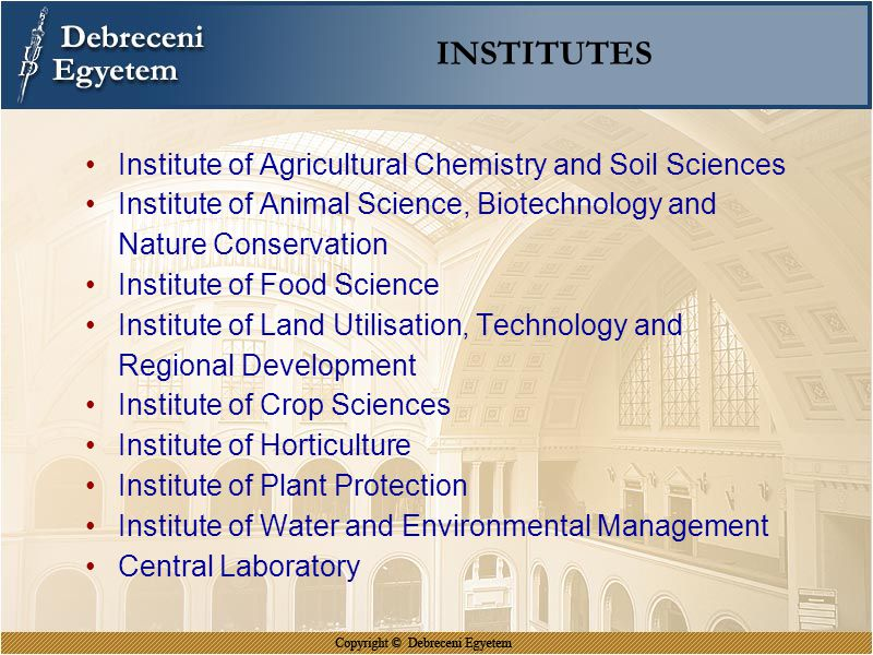 INSTITUTES Institute of Agricultural Chemistry and Soil Sciences