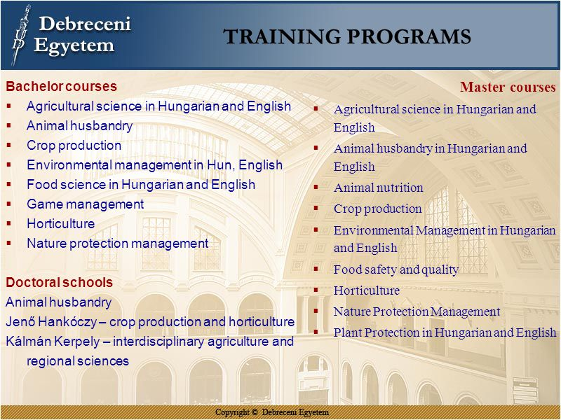 TRAINING PROGRAMS Master courses Bachelor courses
