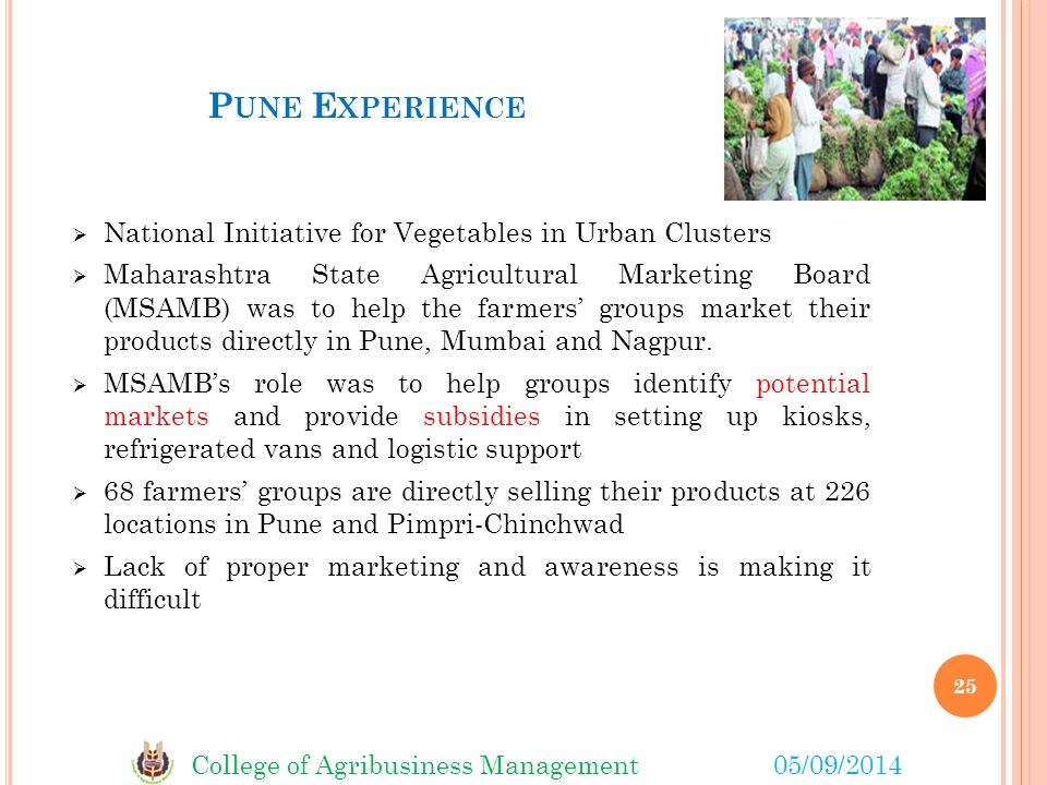 Pune Experience National Initiative for Vegetables in Urban Clusters