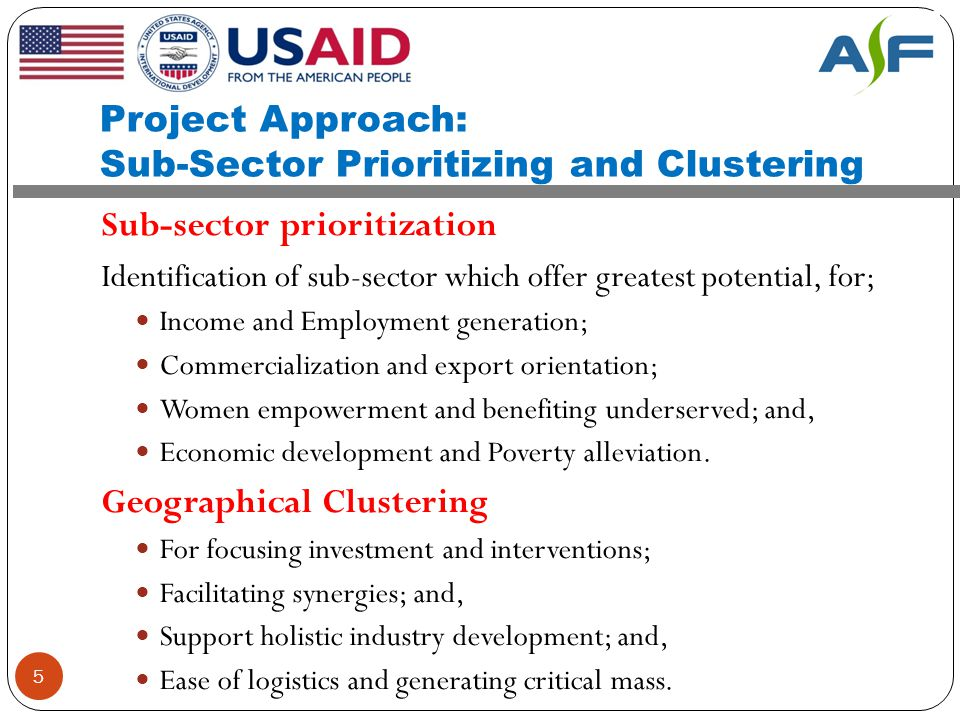 Project Approach: Sub-Sector Prioritizing and Clustering