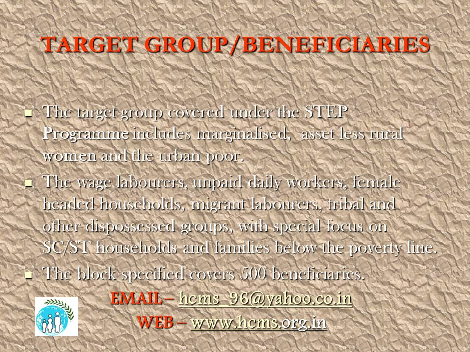 TARGET GROUP/BENEFICIARIES