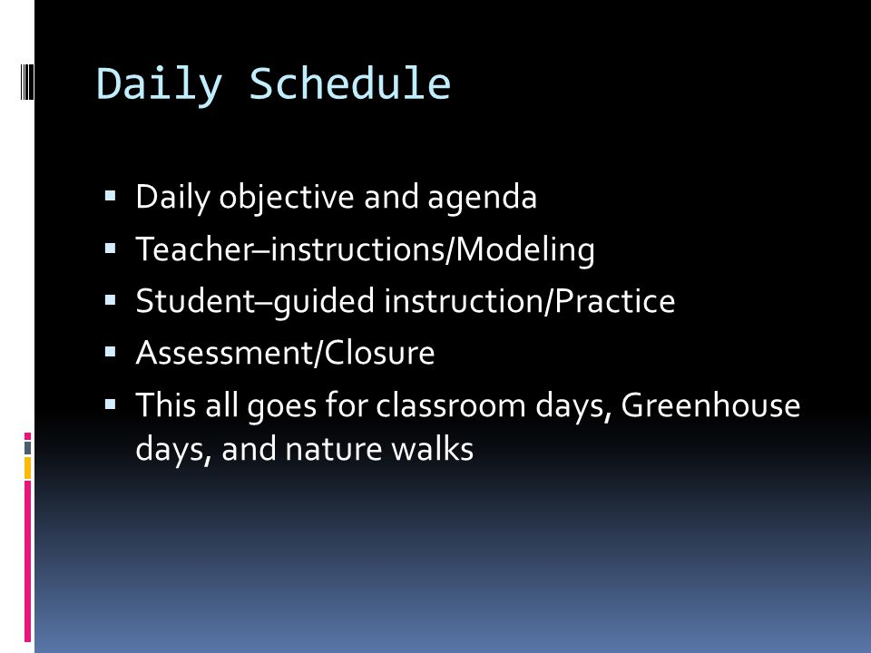 Daily Schedule Daily objective and agenda