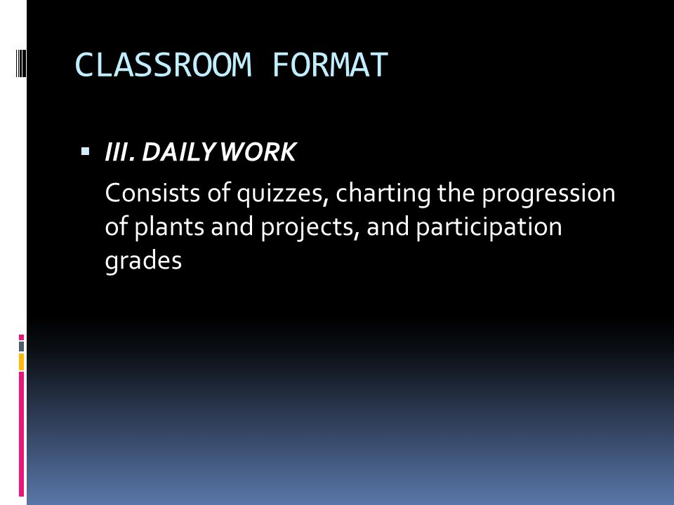 CLASSROOM FORMAT III. DAILY WORK