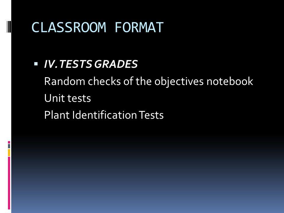 CLASSROOM FORMAT IV. TESTS GRADES