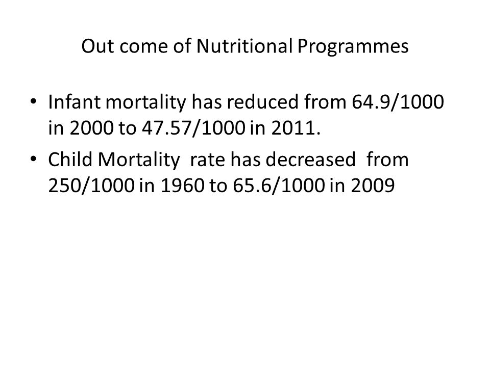 Out come of Nutritional Programmes