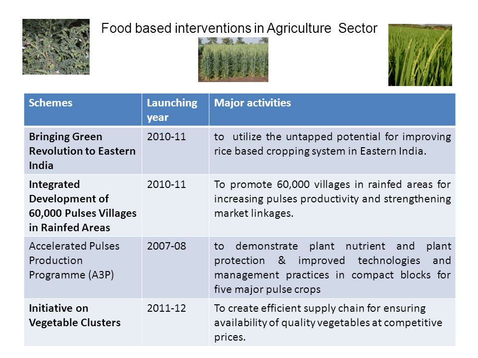 Food based interventions in Agriculture Sector