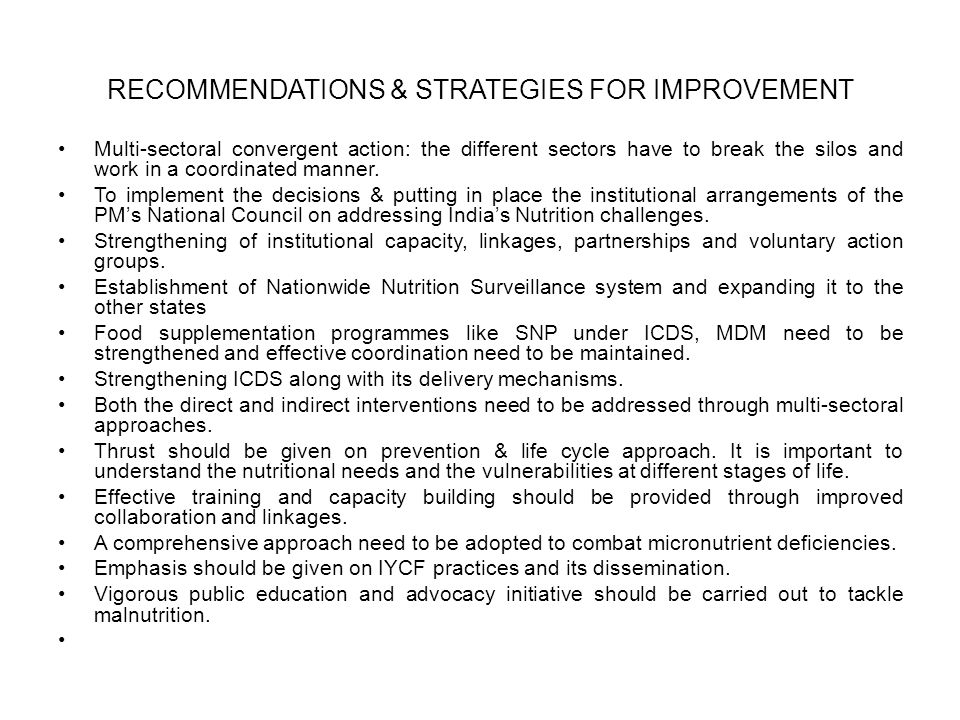 RECOMMENDATIONS & STRATEGIES FOR IMPROVEMENT